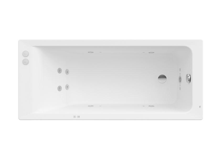 Prostokątna wanna akrylowa z hydromasażem Smart Water Plus 170x75x42 cm Roca Easy