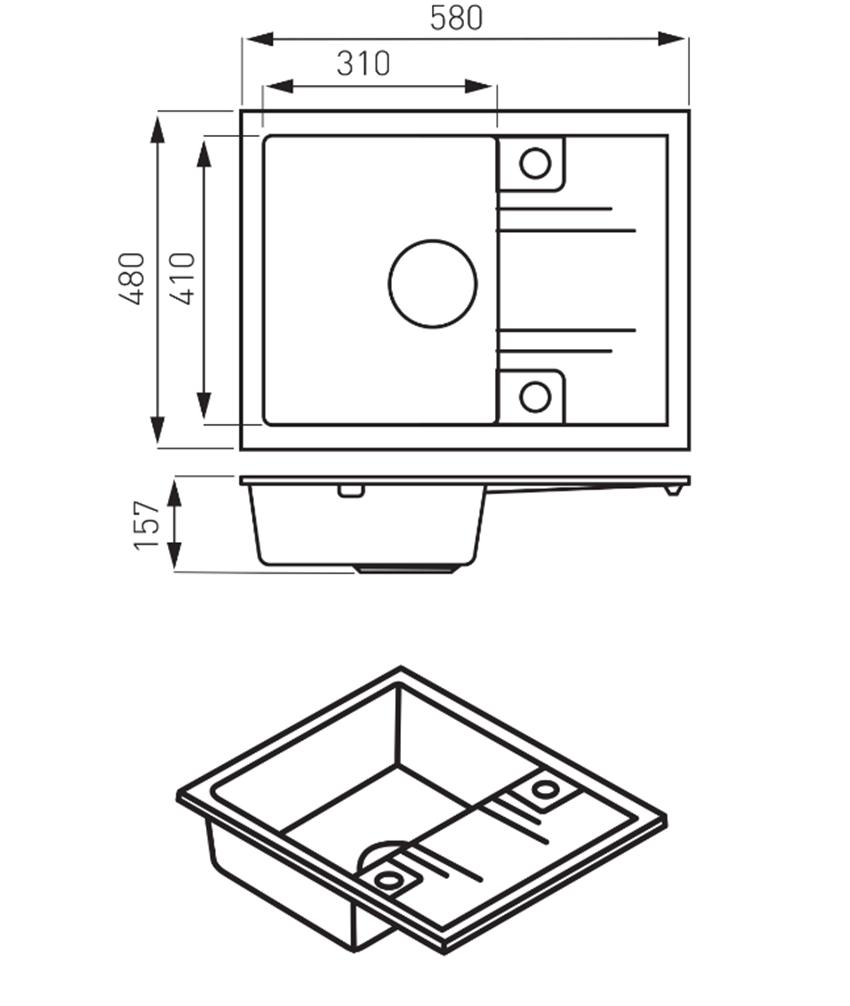 Zlewozmywak prostokątny 1-komorowy z ociekaczem FDesign Carioca rysunek