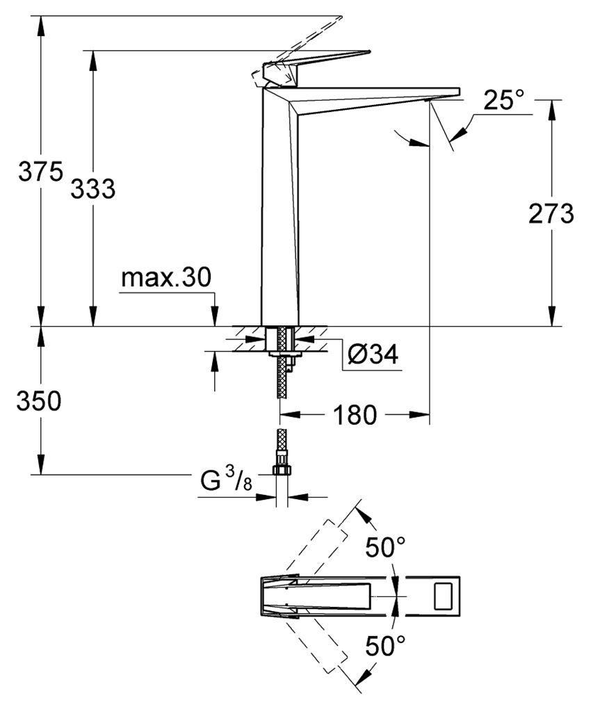 Bateria umywalkowa chrom, rozmiar XL Grohe Allure Brilliant rysunek techniczny
