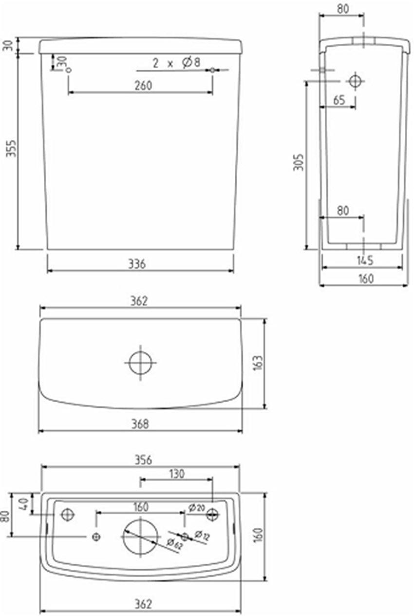 Spłuczka prostokątna z armaturą 6/3l Koło Nova Pro rysunek techniczny