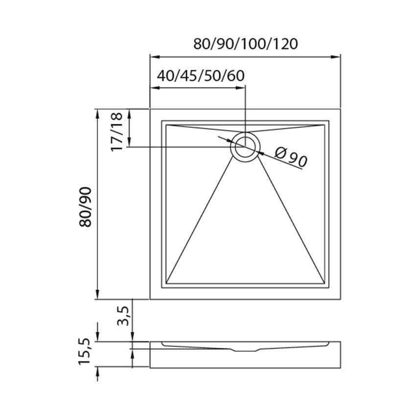 Brodzik kwadratowy 80x80x15,5 cm New Trendy Cantare rysunek techniczny