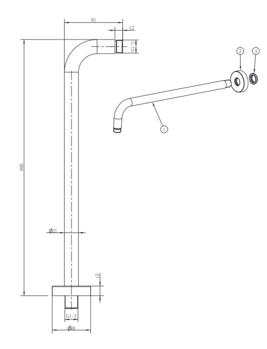 Ramię natrysku ścienne 40 cm FDesign Inula rysunek