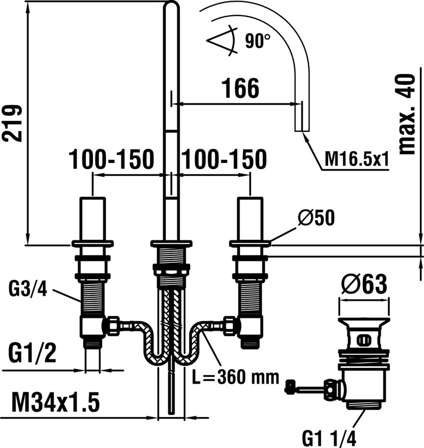 Bateria umywalkowa 3-otworowa Laufen Kartell rysunek techniczny
