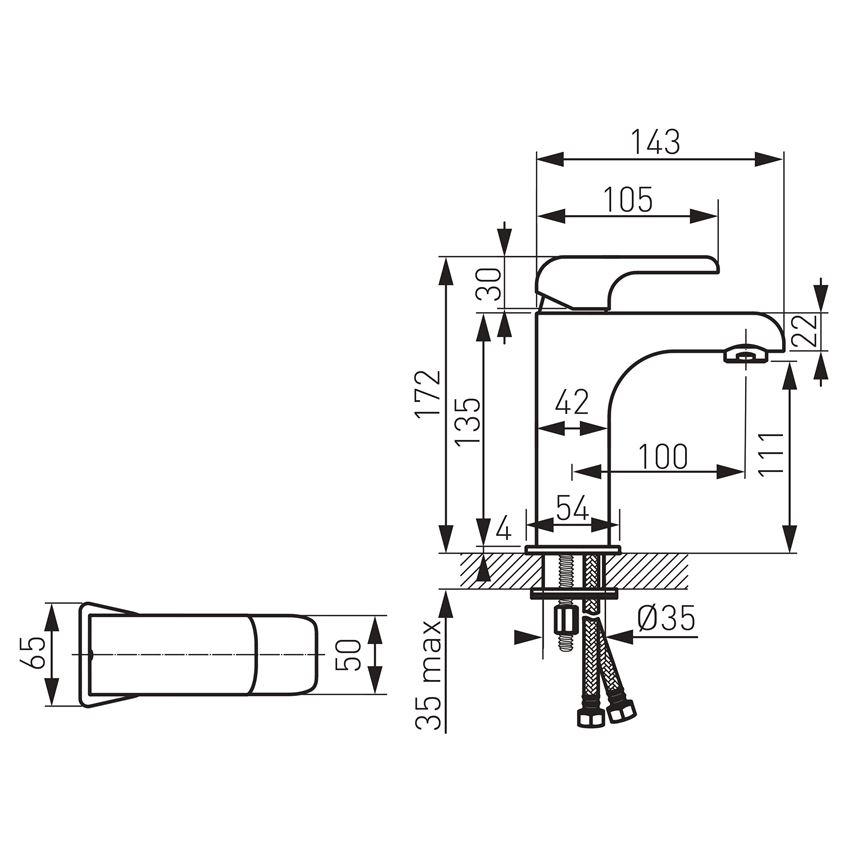 Bateria umywalkowa z korkiem click-clack Ferro Kvadro rysunek techniczny