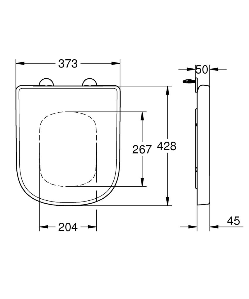 Deska sedesowa do kompaktowej miski WC Grohe Euro Ceramic rysunek techniczny