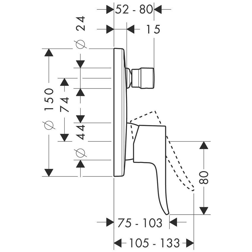 Jednouchwytowa bateria wannowa montaż podtynkowy element zewnętrzny Hansgrohe Metris rysunek techniczny