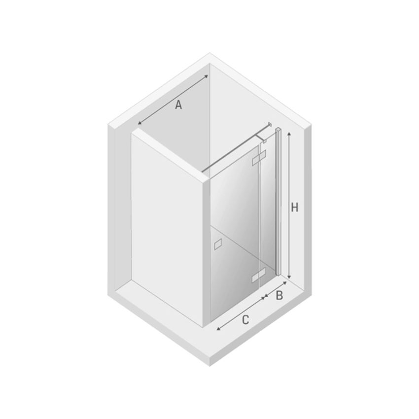Drzwi prysznicowe prawe New Trendy Reflexa rysunek techniczny