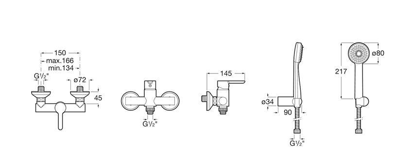 Bateria prysznicowa ścienna bez zestawu natryskowego Roca Carelia rysunek techniczny
