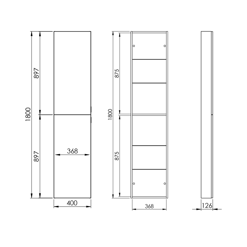 Słupek 40x180 cm Elita For All 40 2D rysunek