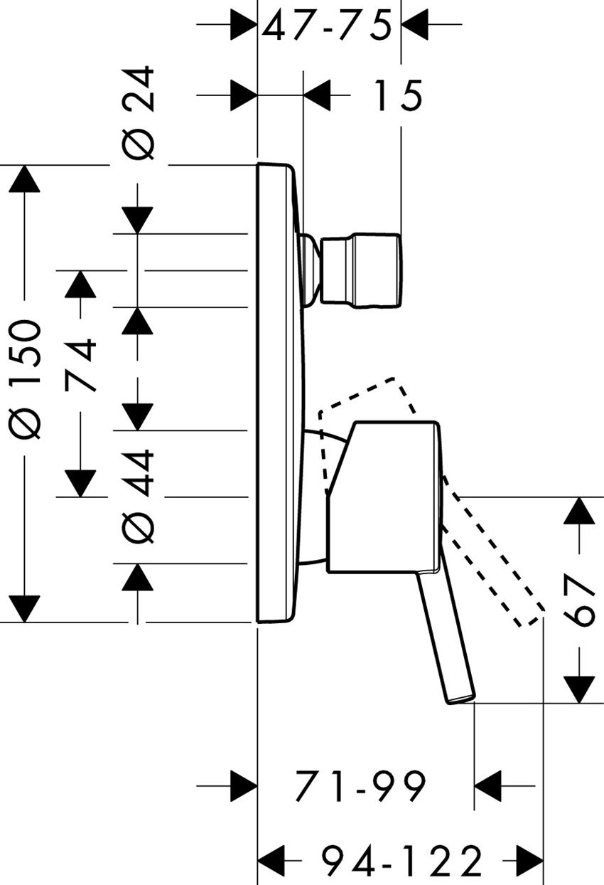 Jednouchwytowa bateria wannowa podtynkowa Hansgrohe Talis S rysunek techniczny