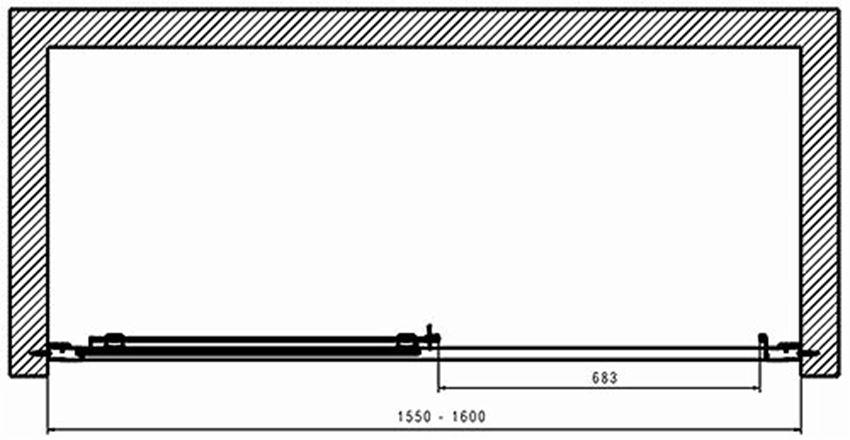 Drzwi przesuwne 160  Koło Geo rysunek techniczny