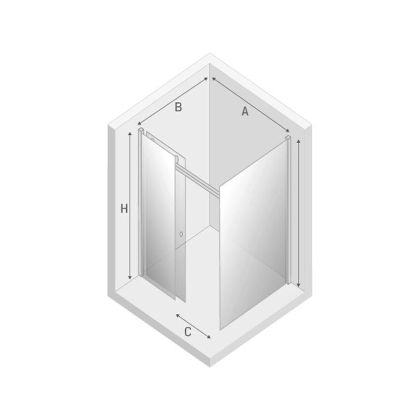 Kabina prysznicowa New Trendy Diora rysunek techniczny