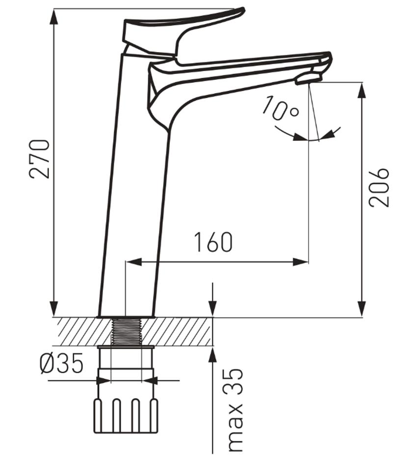 Bateria umywalkowa wysoka FDesign Brezza rysunek
