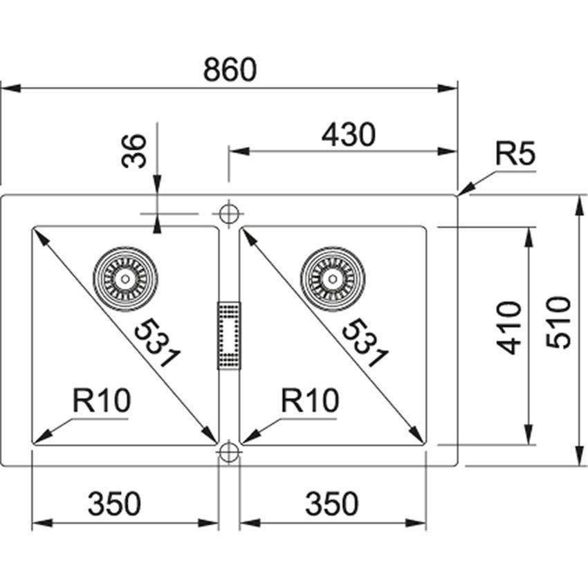Zlewozmywak 2-komorowy Franke Sirius SID 620 rysunek techniczny