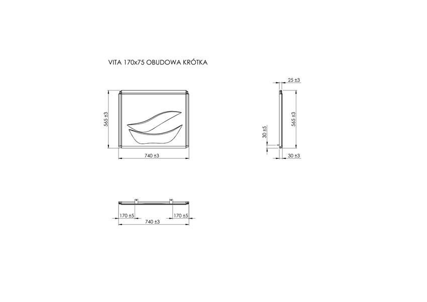 Obudowa boczna do wanny akrylowej 75x75x61 cm Roca Vita rysunek techniczny