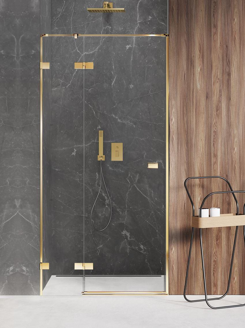 Drzwi prysznicowe lewe uchylne 80x200 cm New Trendy Avexa Gold Shine