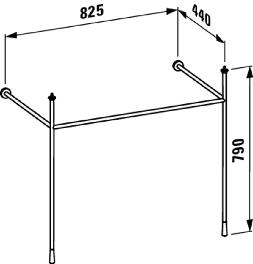Stelaż pod umywalkę 82,5 cm Laufen Kartell rysunek techniczny