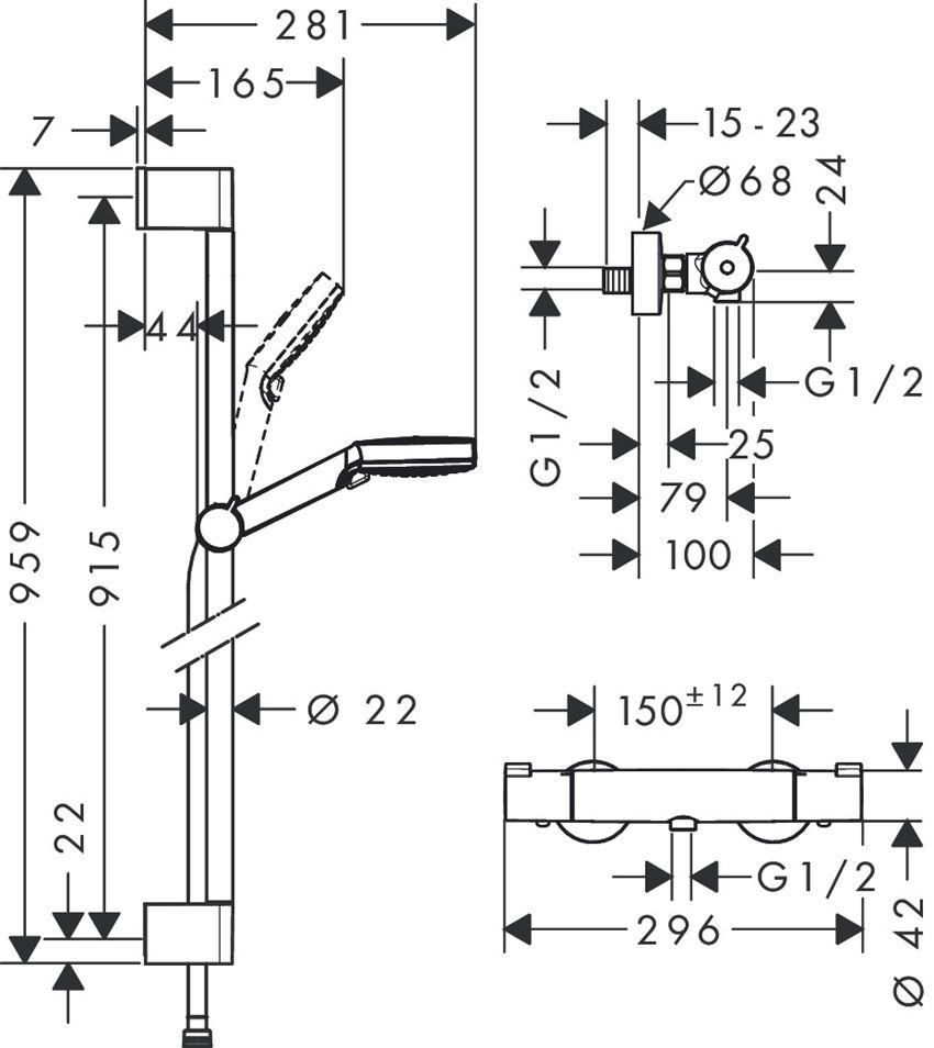 Zestaw prysznicowy Vario z termostatem Ecostat 1001 Hansgrohe Crometta rysunek techniczny