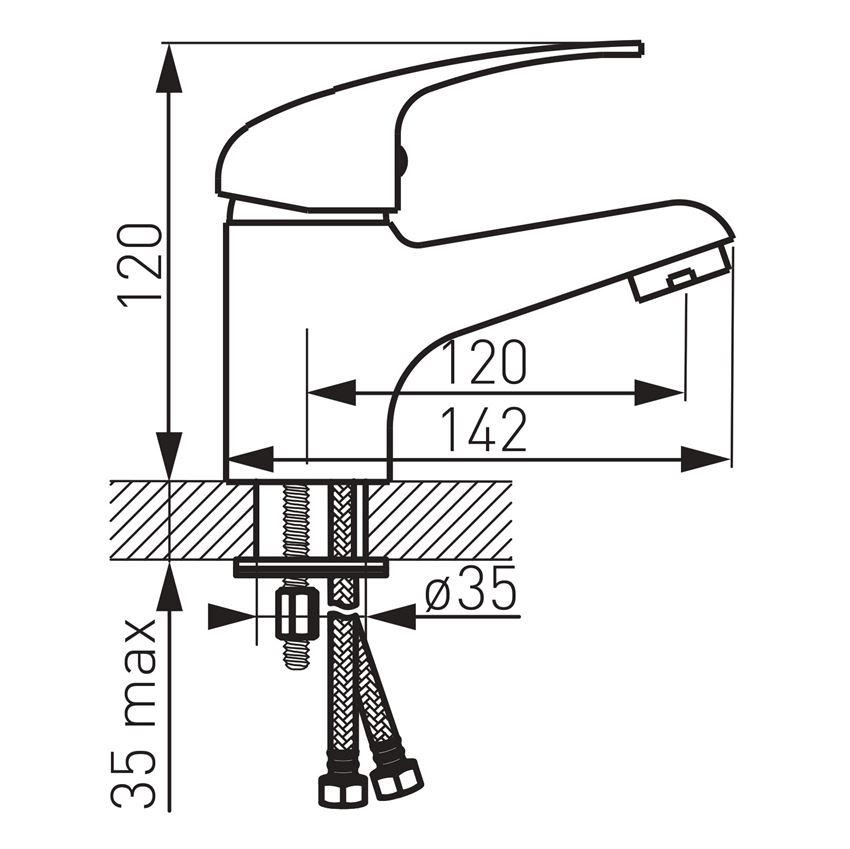 Bateria umywalkowa stojąca Ferro Titania Iris rysunek techniczny