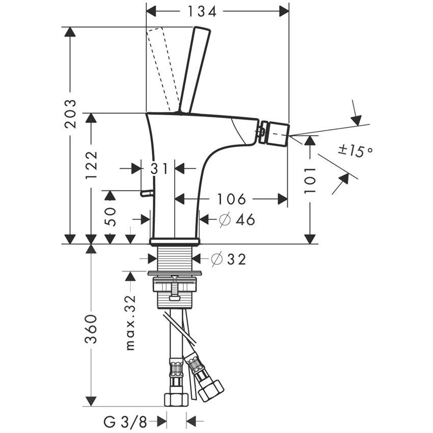Jednouchwytowa bateria bidetowa z cięgłem chrom Hansgrohe PuraVida rysunek techniczny