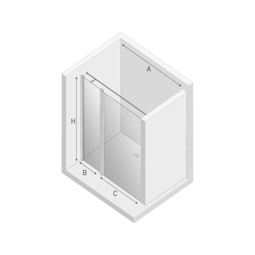 Drzwi prysznicowe wspornik równoległy New Trendy New Soleo Black rysunek techniczny