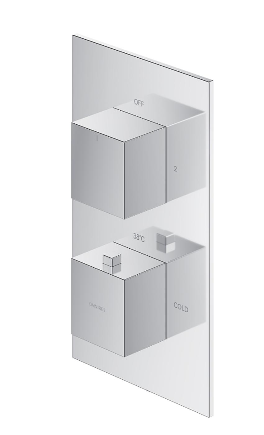 Termostatyczna bateria prysznicowo-wannowa podtynkowa element natynkowy Omnires Fresh