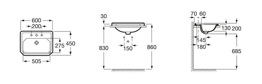 Umywalka blatowa 3 otwory pod baterię 60x45x20 cm Roca Carmen rysunek