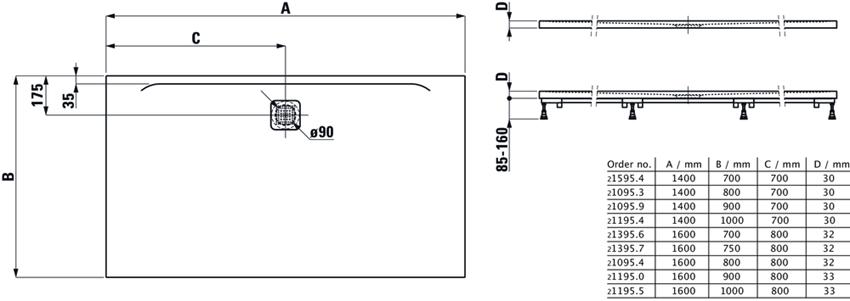 Ultrapłaski brodzik prostokątny 140x80x3 cm Laufen Pro rysunek