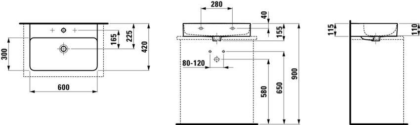 Umywalka ścienna/blatowa 60x42x11,5 cm Laufen Val rysunek techniczny