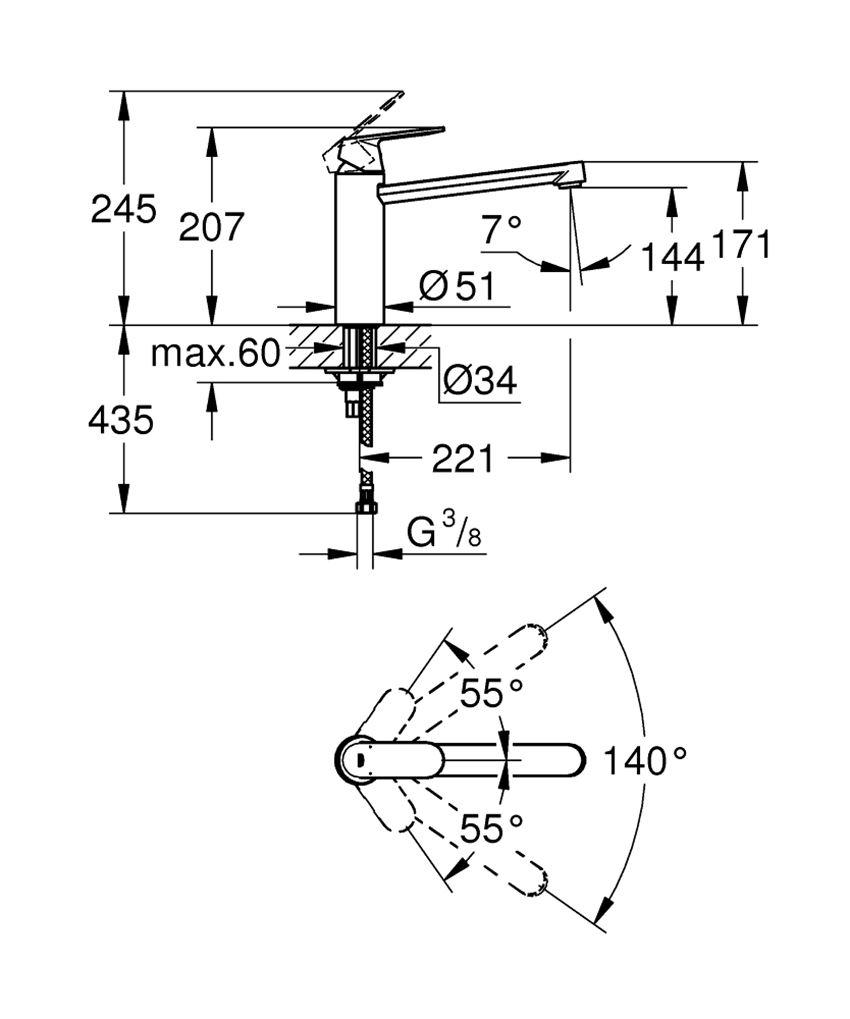 Jednouchwytowa bateria kuchenna 20,7 cm Grohe Eurosmart Cosmopolitan rysunek techniczny