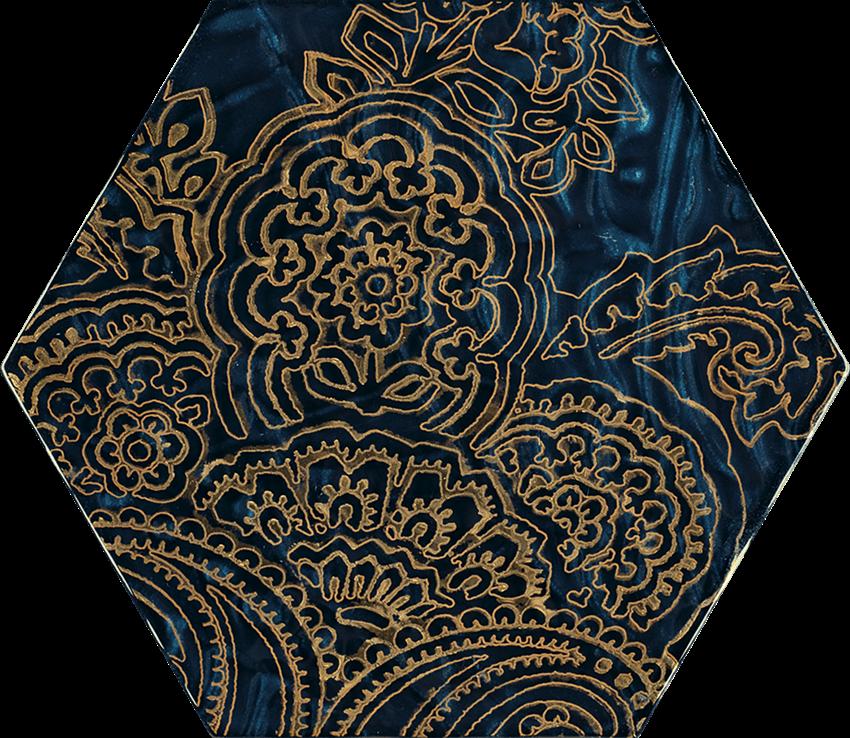 Dekoracja ścienna 17,1x19,8 cm Paradyż Urban Colours Blue Inserto Szklane Heksagon B