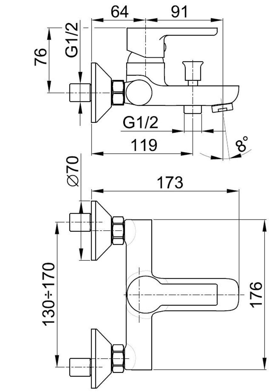 Jednouchwytowa bateria wannowa KFA Sodalit rysunek techniczny