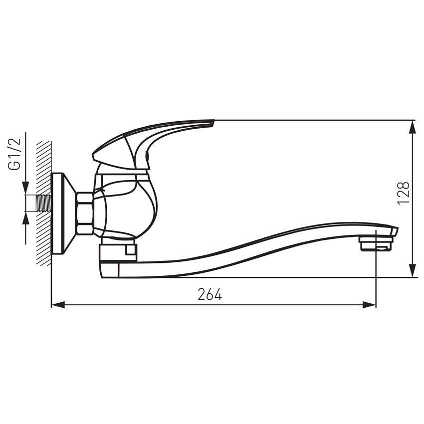Bateria umywalkowa/zlewozmywakowa ścienna Ferro Metalia rysunek techniczny