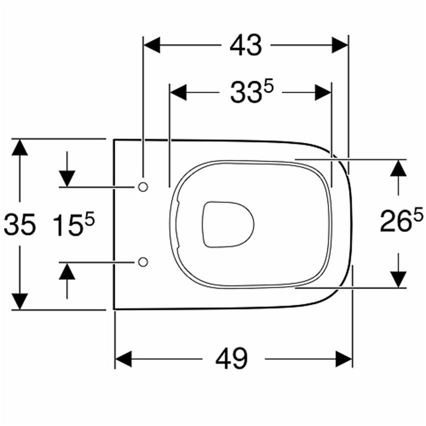 Miska WC 49 cm bez deski Koło Modo rysunek