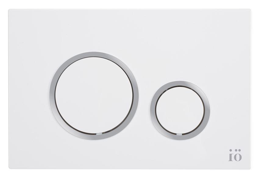 Przycisk spłukujący biały z ringiem silver IÖ BJORN