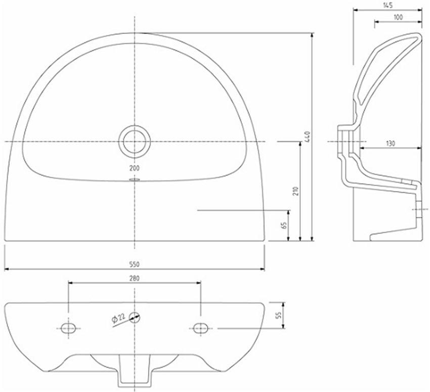 Umywalka półokrągła bez otworu 55 cm Koło Nova Pro rysunek techniczny