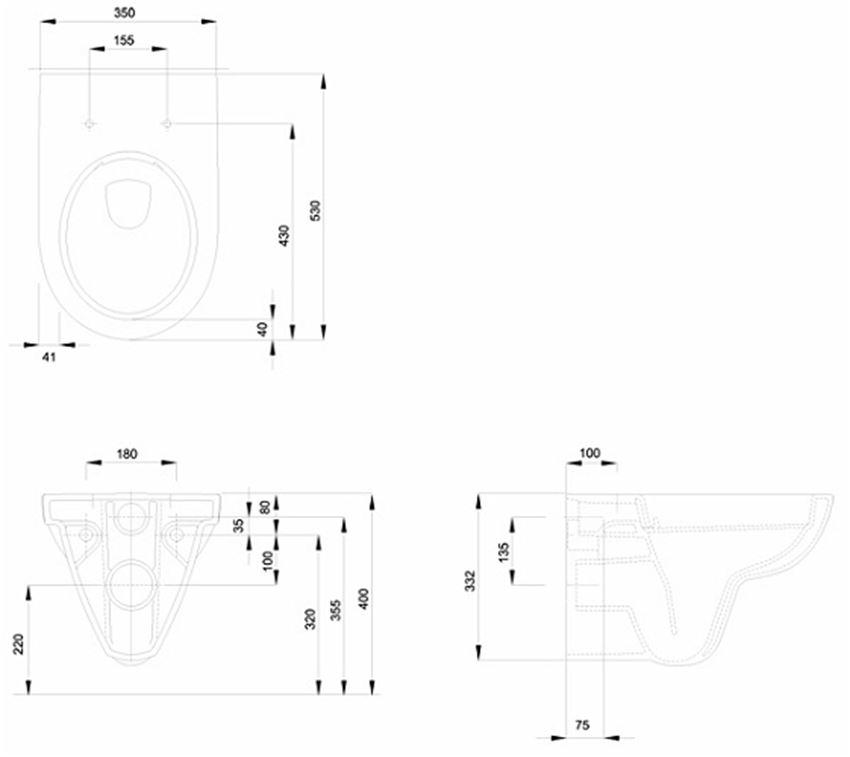 Miska ustępowa wisząca Rimfree 35x53 cm Koło Nova Pro rysunek techniczny