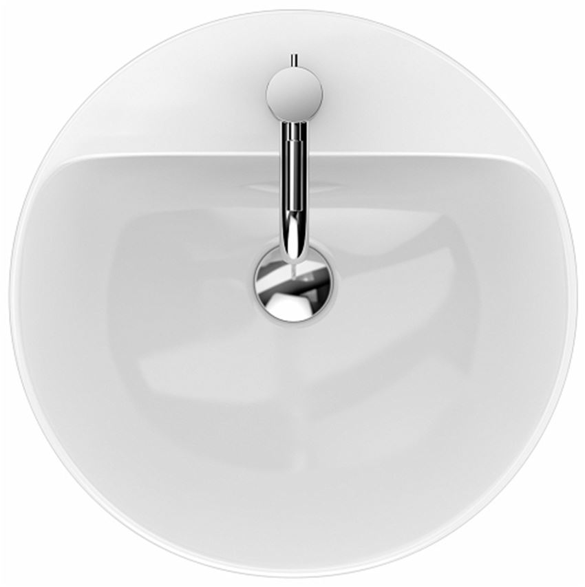 Umywalka stawiana na blat 45 cm okrągła z otworem i przelewem Koło VariForm