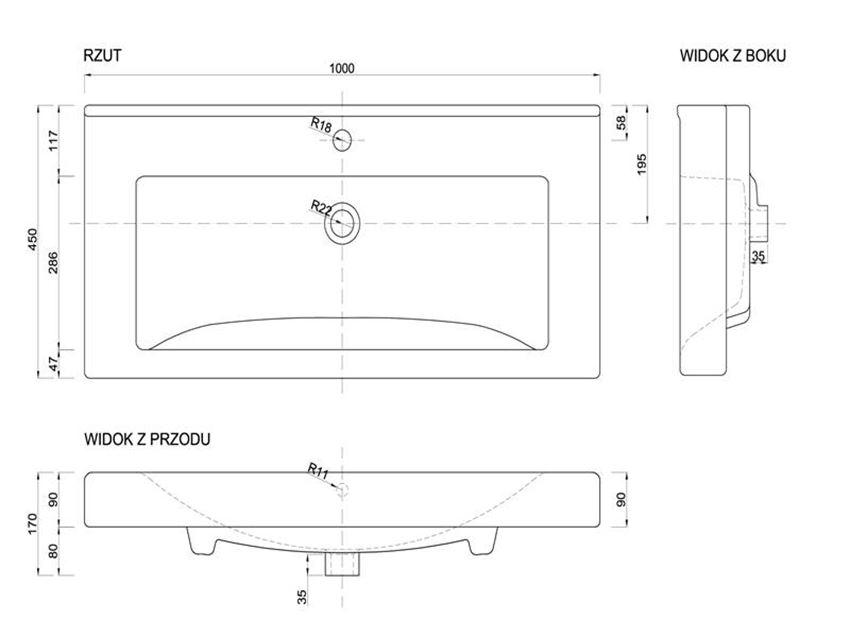 Umywalka meblowa 100x45x17 cm Defra Mona rys.techniczny