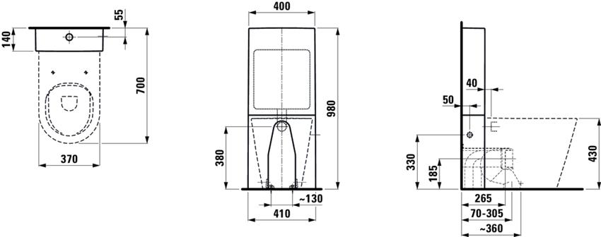 Miska WC stojąca rimless lejowa bezkołnierzowa odpływ podwójny Laufen Kartell rysunek techniczny