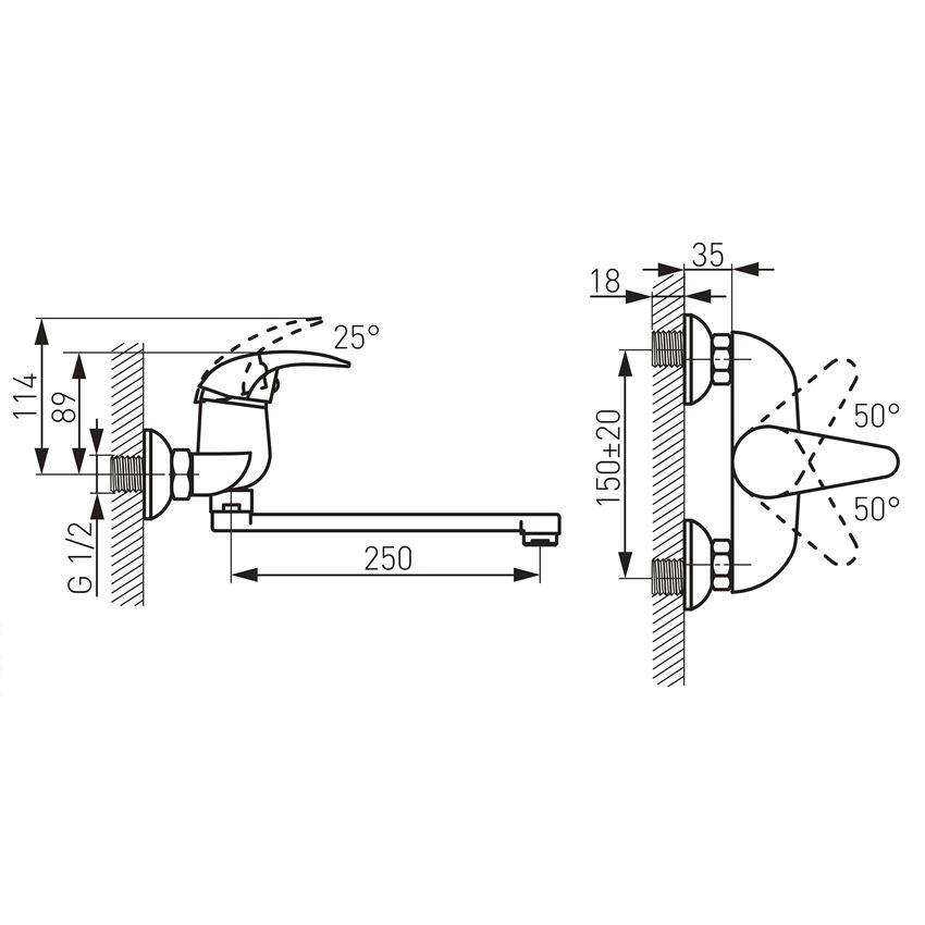 Bateria zlewozmywakowa ścienna Ferro Ancona rysunek techniczny