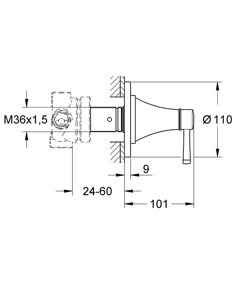 Przełącznik pięciodrożny Grohe Grandera rysunek techniczny