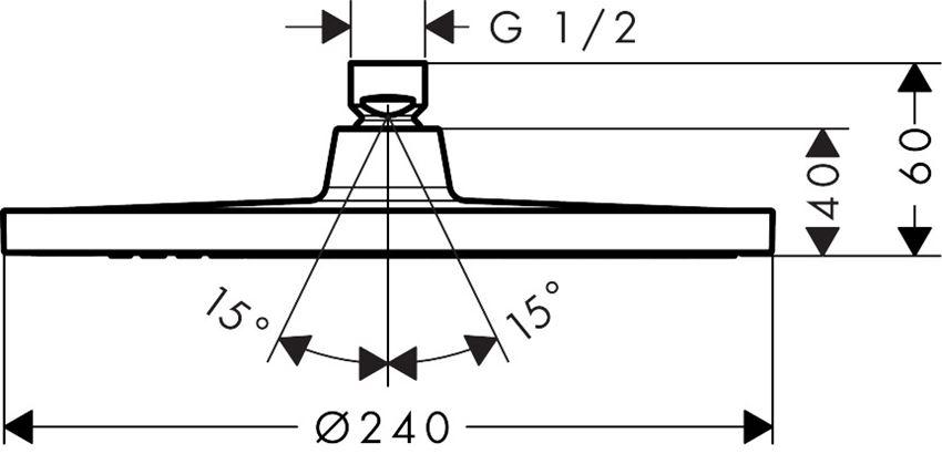 Głowica prysznicowa LowPressure Hansgrohe Crometta S rysunek techniczny