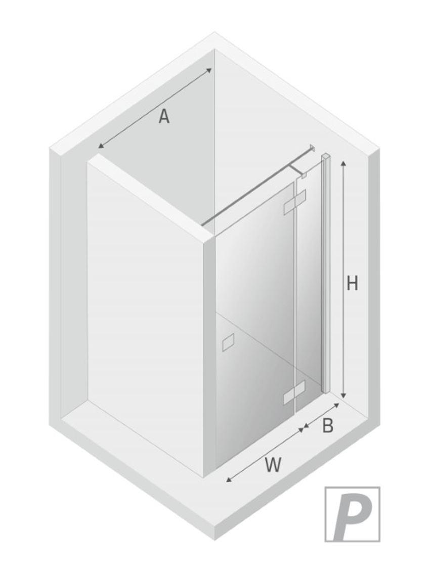 Drzwi prysznicowe prawe uchylne New Trendy Reflexa Black rysunek