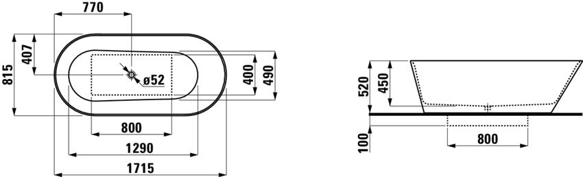 Wanna wolnostojąca 171,5x81,5x45 cm Laufen Kartell  rysunek techniczny