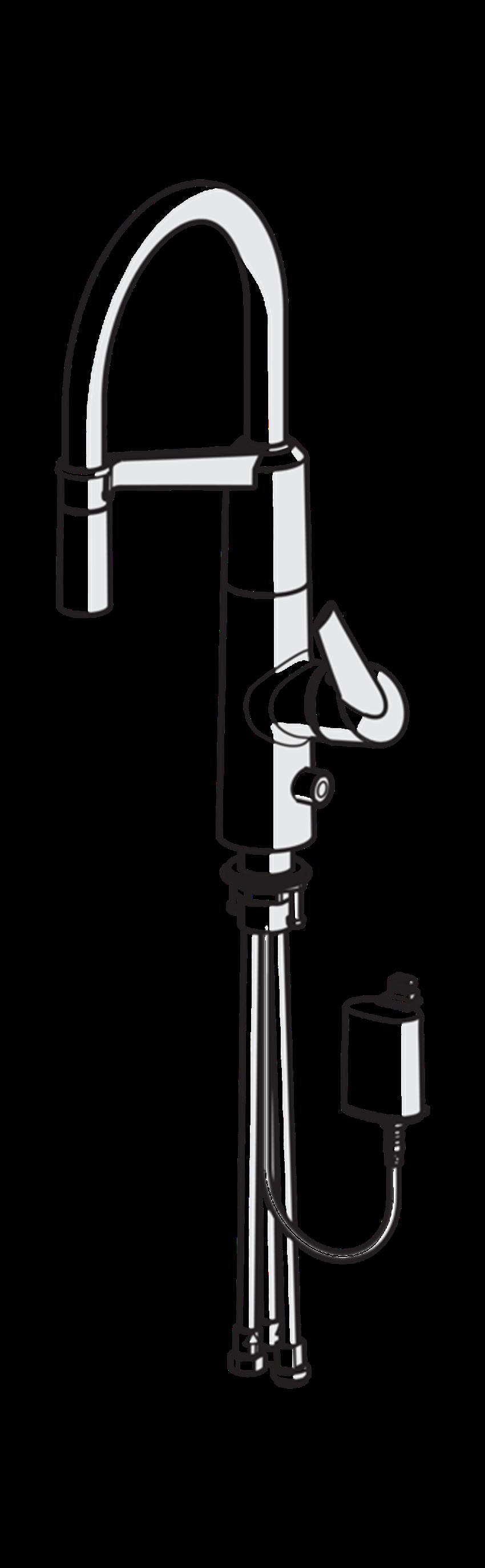Bateria kuchenna z elastyczną wylewką obrotową Oras Optima rysunek techniczny