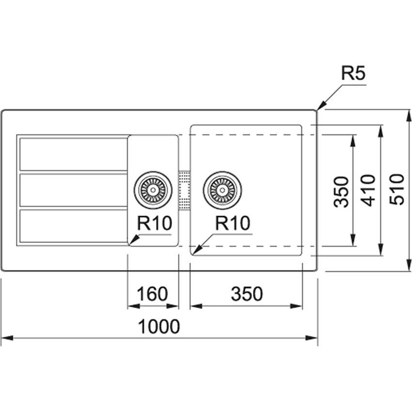 Zlewozmywak 1,5-komorowy Franke Sirius SID 651 rysunek techniczny