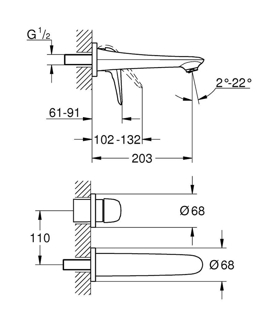 Dwuotworowa bateria umywalkowa rozmiar M Grohe Eurostyle rysunek techniczny