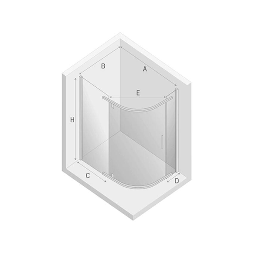 Kabina prysznicowa asymetryczna New Trendy New Komfort rysunek techniczny