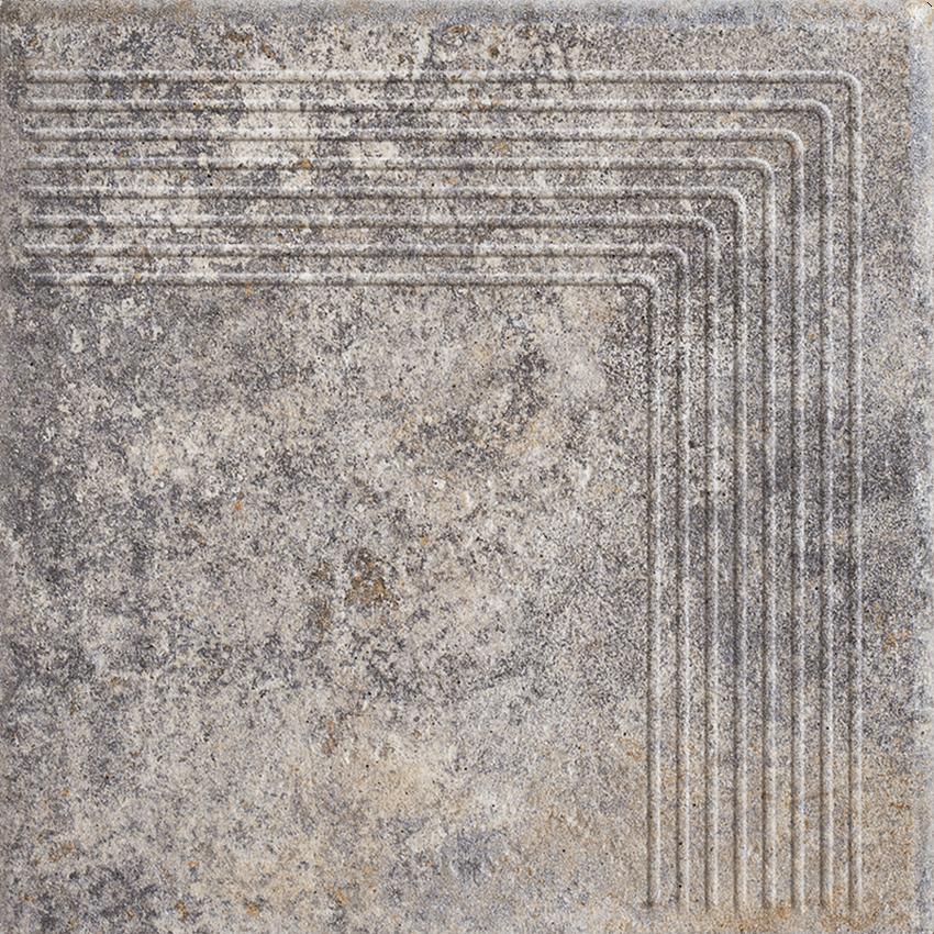Płytka stopnicowa 30x30 cm Paradyż Viano Grys Stopnica Narożna